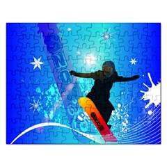 Snowboarding Rectangular Jigsaw Puzzl by FantasyWorld7