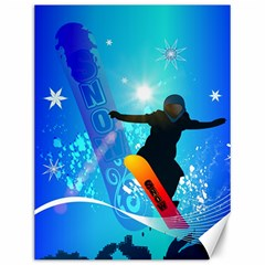 Snowboarding Canvas 12  X 16   by FantasyWorld7