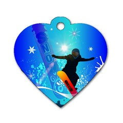 Snowboarding Dog Tag Heart (two Sides) by FantasyWorld7