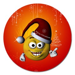 Cute Funny Christmas Smiley With Christmas Tree Magnet 5  (round) by FantasyWorld7
