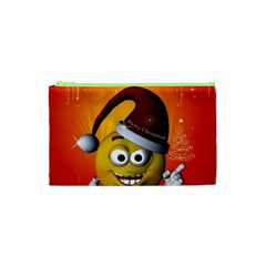 Cute Funny Christmas Smiley With Christmas Tree Cosmetic Bag (xs) by FantasyWorld7