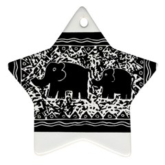 Elephant And Calf Lino Print Ornament (Star)  by julienicholls