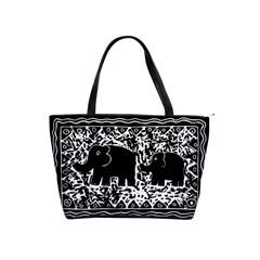 Elephant And Calf Lino Print Shoulder Handbags by julienicholls