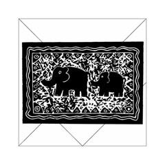 Elephant And Calf Lino Print Acrylic Tangram Puzzle (6  x 6 ) by julienicholls