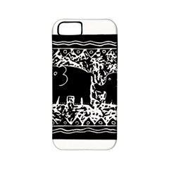 Elephant And Calf Lino Print Apple Iphone 5 Classic Hardshell Case (pc+silicone) by julienicholls