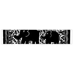 Elephant And Calf Lino Print Flano Scarf (small)  by julienicholls