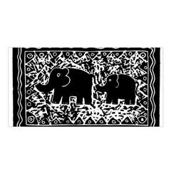Elephant And Calf Lino Print Satin Shawl