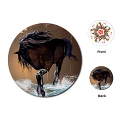 Beautiful Horse With Water Splash Playing Cards (round)  by FantasyWorld7