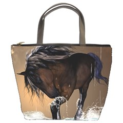 Beautiful Horse With Water Splash Bucket Bags by FantasyWorld7