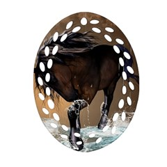 Beautiful Horse With Water Splash Ornament (oval Filigree)  by FantasyWorld7