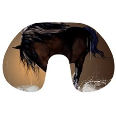 Beautiful Horse With Water Splash Travel Neck Pillows by FantasyWorld7