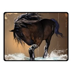 Beautiful Horse With Water Splash Double Sided Fleece Blanket (small)  by FantasyWorld7
