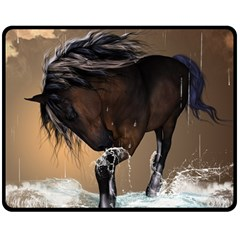 Beautiful Horse With Water Splash Double Sided Fleece Blanket (medium)  by FantasyWorld7