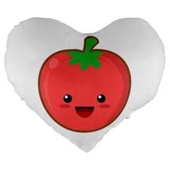 Kawaii Tomato Large 19  Premium Heart Shape Cushions by KawaiiKawaii