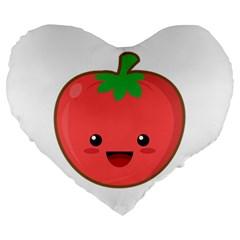 Kawaii Tomato Large 19  Premium Flano Heart Shape Cushions by KawaiiKawaii