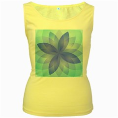 Abstract Lotus Flower 1 Women s Yellow Tank Tops by MedusArt