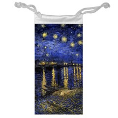 Vincent Van Gogh Starry Night Over The Rhone Jewelry Bags by MasterpiecesOfArt