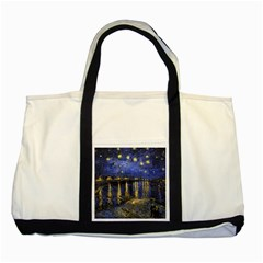 Vincent Van Gogh Starry Night Over The Rhone Two Tone Tote Bag  by MasterpiecesOfArt