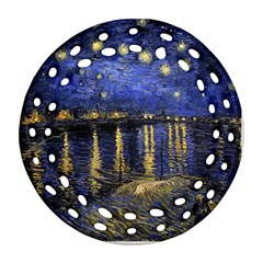 Vincent Van Gogh Starry Night Over The Rhone Ornament (round Filigree)  by MasterpiecesOfArt
