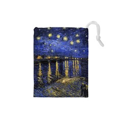 Vincent Van Gogh Starry Night Over The Rhone Drawstring Pouches (small)  by MasterpiecesOfArt