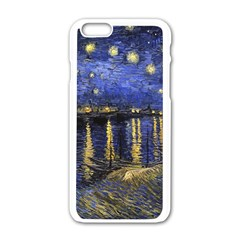 Vincent Van Gogh Starry Night Over The Rhone Apple Iphone 6/6s White Enamel Case by MasterpiecesOfArt