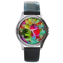 Floral Abstract 1 Round Metal Watches by MedusArt