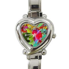 Floral Abstract 1 Heart Italian Charm Watch by MedusArt