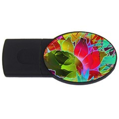 Floral Abstract 1 Usb Flash Drive Oval (4 Gb)  by MedusArt