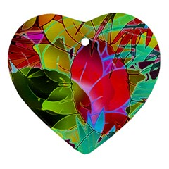 Floral Abstract 1 Heart Ornament (2 Sides) by MedusArt