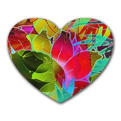 Floral Abstract 1 Heart Mousepads by MedusArt