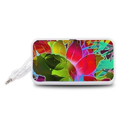 Floral Abstract 1 Portable Speaker (white)  by MedusArt