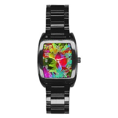 Floral Abstract 1 Stainless Steel Barrel Watch by MedusArt