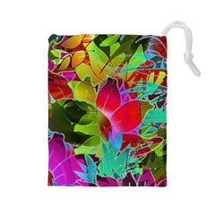 Floral Abstract 1 Drawstring Pouches (large)  by MedusArt
