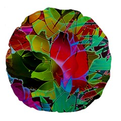 Floral Abstract 1 Large 18  Premium Flano Round Cushions by MedusArt