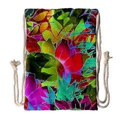 Floral Abstract 1 Drawstring Bag (large) by MedusArt
