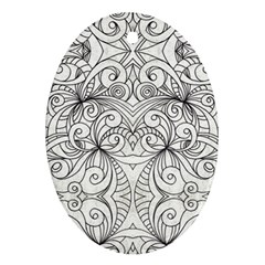 Drawing Floral Doodle 1 Ornament (oval)  by MedusArt
