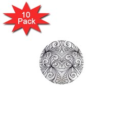Drawing Floral Doodle 1 1  Mini Magnet (10 Pack)  by MedusArt