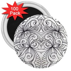 Drawing Floral Doodle 1 3  Magnets (100 Pack) by MedusArt