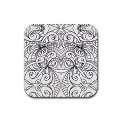 Drawing Floral Doodle 1 Rubber Square Coaster (4 Pack)  by MedusArt