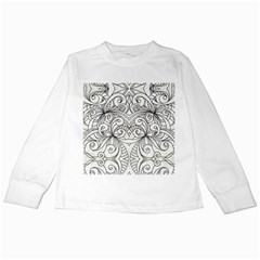 Drawing Floral Doodle 1 Kids Long Sleeve T Shirts by MedusArt