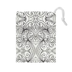 Drawing Floral Doodle 1 Drawstring Pouches (large)  by MedusArt