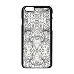 Drawing Floral Doodle 1 Apple Iphone 6/6s Black Enamel Case by MedusArt