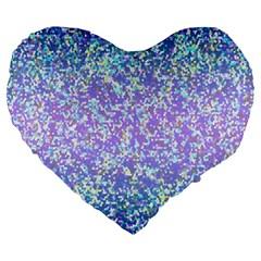 Glitter 2 Large 19  Premium Flano Heart Shape Cushions by MedusArt