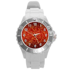 Glitter 3 Round Plastic Sport Watch (l) by MedusArt