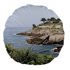 Tenerife,painted Version Large 18  Premium Flano Round Cushions by MoreColorsinLife