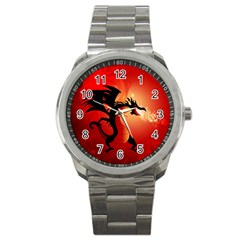 Funny, Cute Dragon With Fire Sport Metal Watches by FantasyWorld7