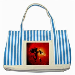 Funny, Cute Dragon With Fire Striped Blue Tote Bag  by FantasyWorld7
