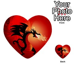 Funny, Cute Dragon With Fire Multi Purpose Cards (heart)  by FantasyWorld7