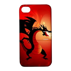 Funny, Cute Dragon With Fire Apple Iphone 4/4s Hardshell Case With Stand by FantasyWorld7