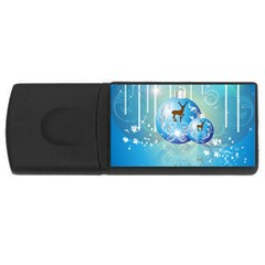 Wonderful Christmas Ball With Reindeer And Snowflakes USB Flash Drive Rectangular (2 GB)  by FantasyWorld7